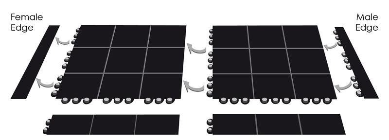Rubber Interlocking Floor Tile U2013 92 X 92 Cm U2013 Black